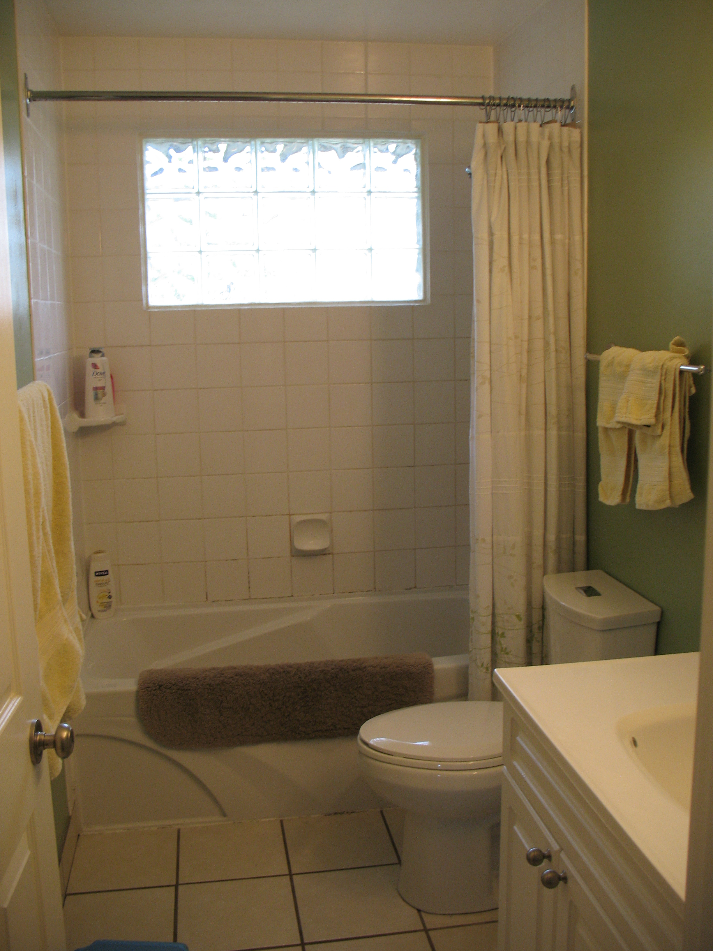 Simple  on the bench matches that in the kitchen and around our house u but more on that next time For now here is the bathroom before we did the big reno